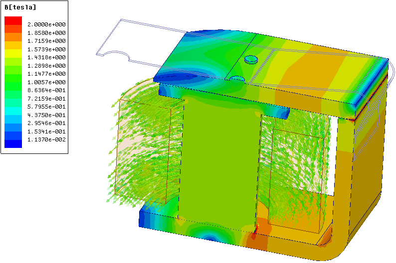 Berechnung der Induktion und der Kraft auf den Anker in Maxwell 3D